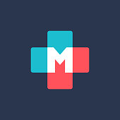 Letter M cross plus medical icon design template elements