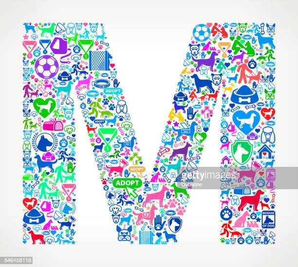 letter m dog and canine pet colorful icon pattern - letter m stock illustrations, clip art, cartoons, & icons