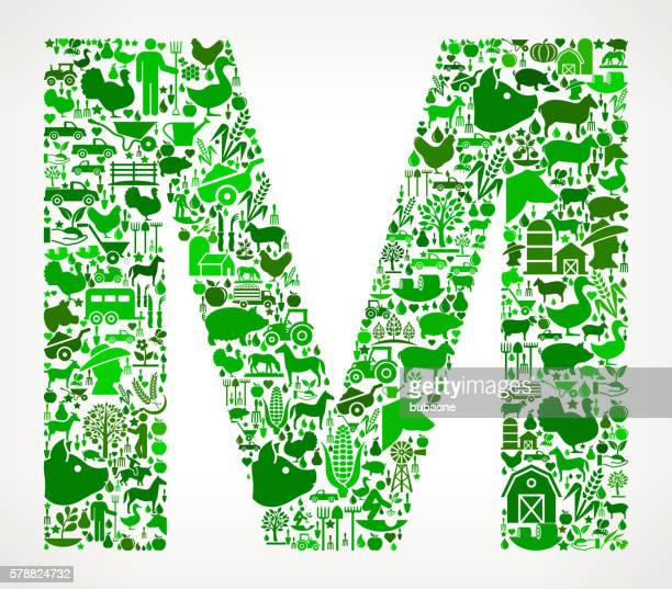 letter m farming and agriculture green icon pattern - letter m stock illustrations, clip art, cartoons, & icons