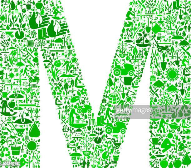 ilustraciones, imágenes clip art, dibujos animados e iconos de stock de letra m de jardín y jardinería vector icono patrón - letra m