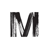 Letter M hand drawn with dry brush