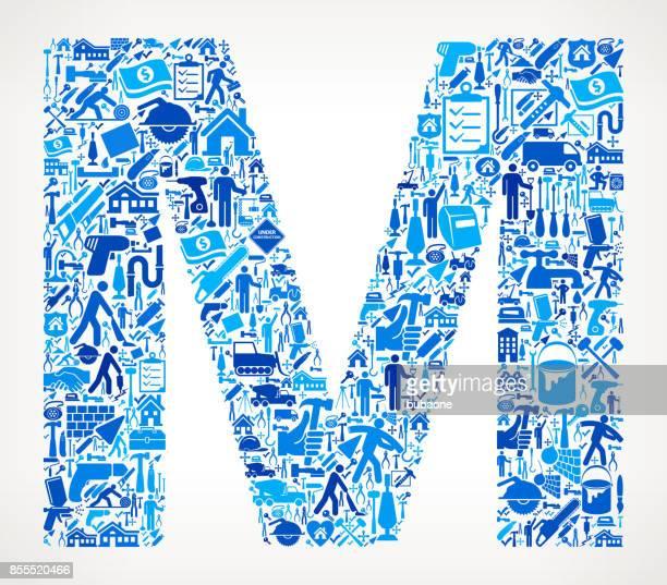 ilustraciones, imágenes clip art, dibujos animados e iconos de stock de letra m casa renovación reparación vector icono patrón - letra m