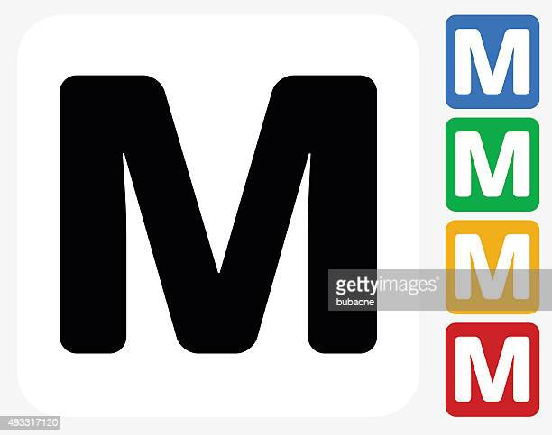 letter m icon flat graphic design - letter m stock illustrations, clip art, cartoons, & icons