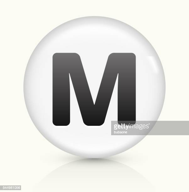 letter m icon on white round vector button - letter m stock illustrations, clip art, cartoons, & icons