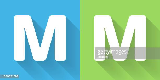 letter m icon with long shadow - letter m stock illustrations, clip art, cartoons, & icons