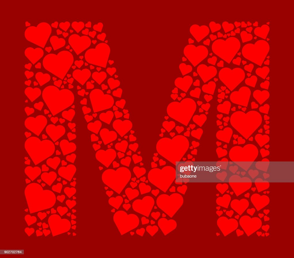 Letter M Icon With Red Hearts Love Pattern Vector Art