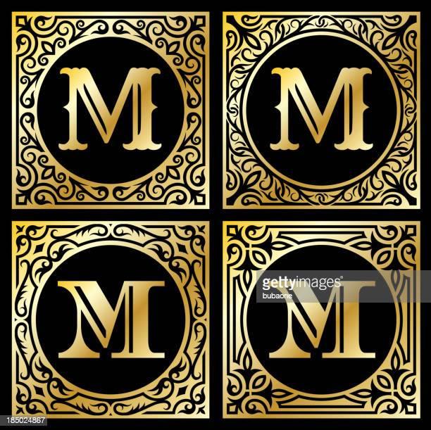 letter m in golden frame - letter m stock illustrations, clip art, cartoons, & icons