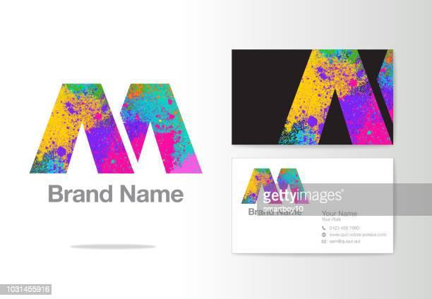 letter m logo design or corporate identity - logo stock illustrations