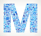 Letter M on Business royalty free vector art Pattern