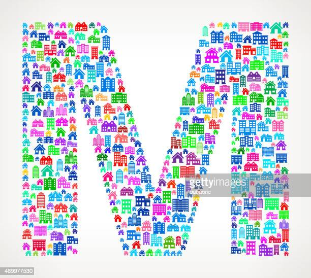 letter m on house and real estate icon pattern - letter m stock illustrations, clip art, cartoons, & icons