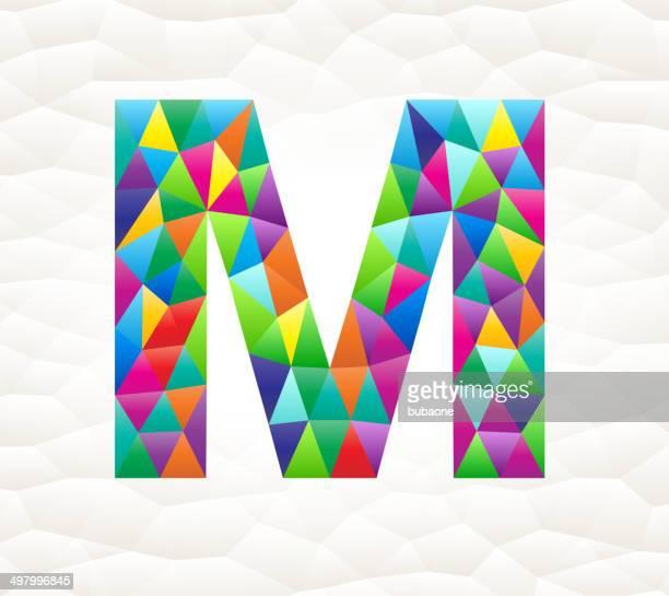 letter m on triangular pattern mosaic royalty free vector art - letter m stock illustrations, clip art, cartoons, & icons