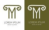 Letter M pillar greek column capital vector sign for business symbol template