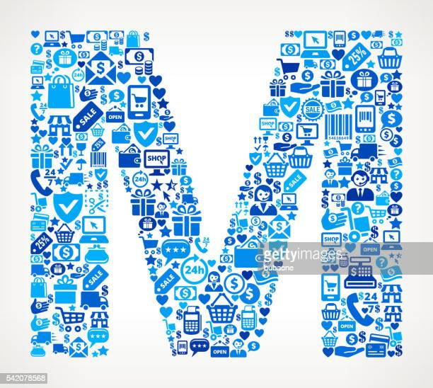 letter m shopping and commerce blue icon pattern - letter m stock illustrations, clip art, cartoons, & icons