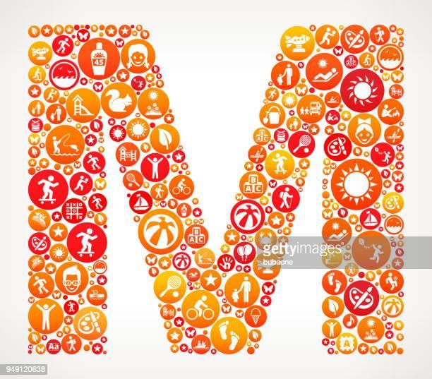ilustraciones, imágenes clip art, dibujos animados e iconos de stock de letra m verano campamento divertido icono patrón - letra m