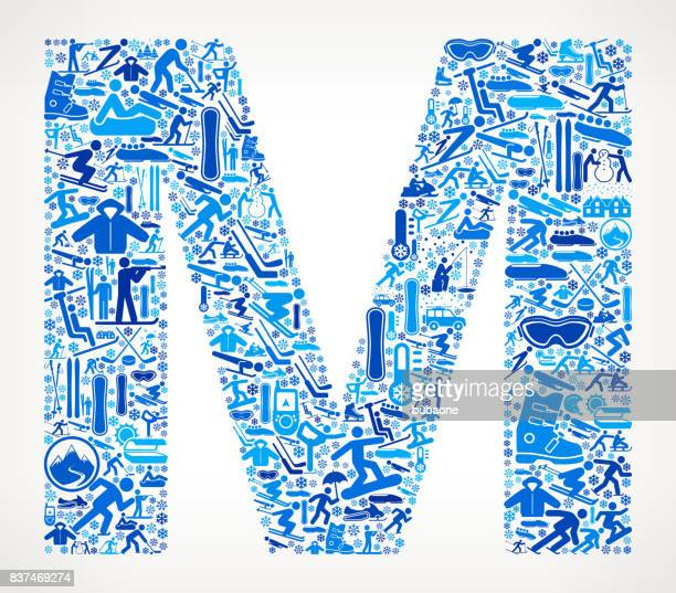 letter m winter sport fun  vector graphic - icon collage stock illustrations