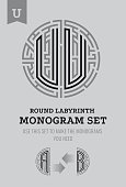 U letter maze. Set for the labyrinth sign and monograms, coat of arms, heraldry? abbreviation.