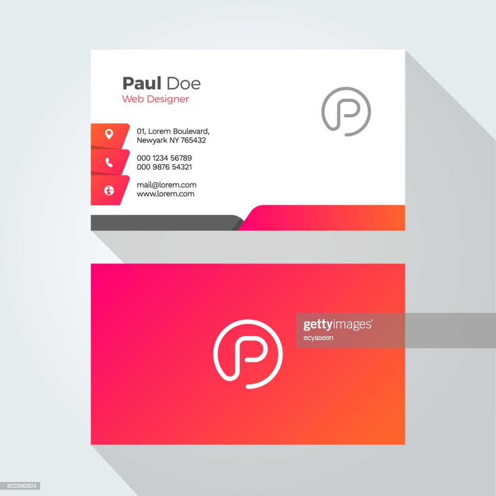 P Letter Modern Minimal Abstract Alphabet Business card design template