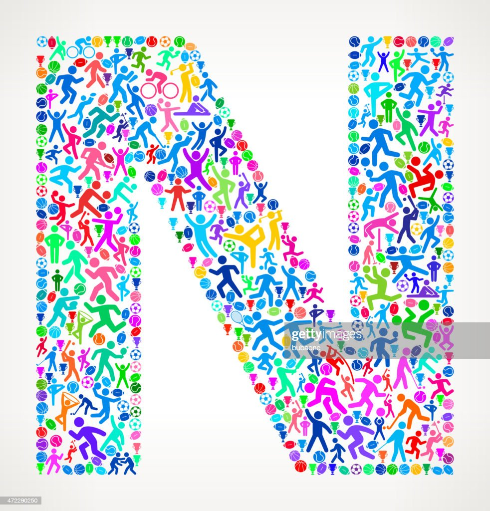 Letter N Fitness Sports and Exercise pattern vector background : Stock Illustration