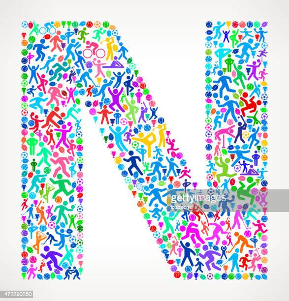 Letter N Fitness Sports and Exercise pattern vector background