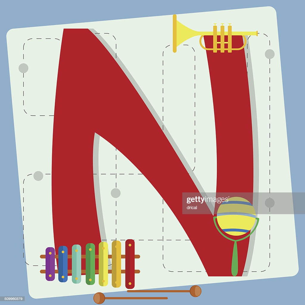 Letter N From Stylized Alphabet With Childrens Toys Vector Art