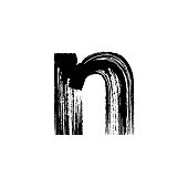 Letter n hand drawn with dry brush. Lowercase