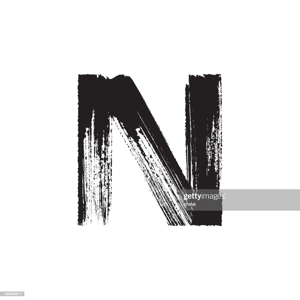 Letter N hand drawn with dry brush