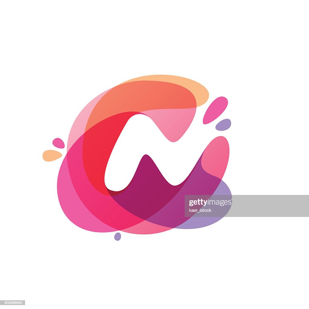 Letter N Icon At Colorful Watercolor Splash Background Vector Art ...
