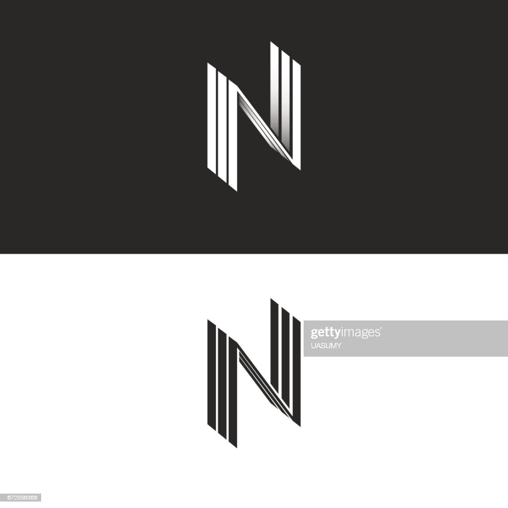 Letter N icon NNN isometric emblem, geometric design element perspective hipster monogram, parallel lines typography black and white icon, 3D simple art symbol