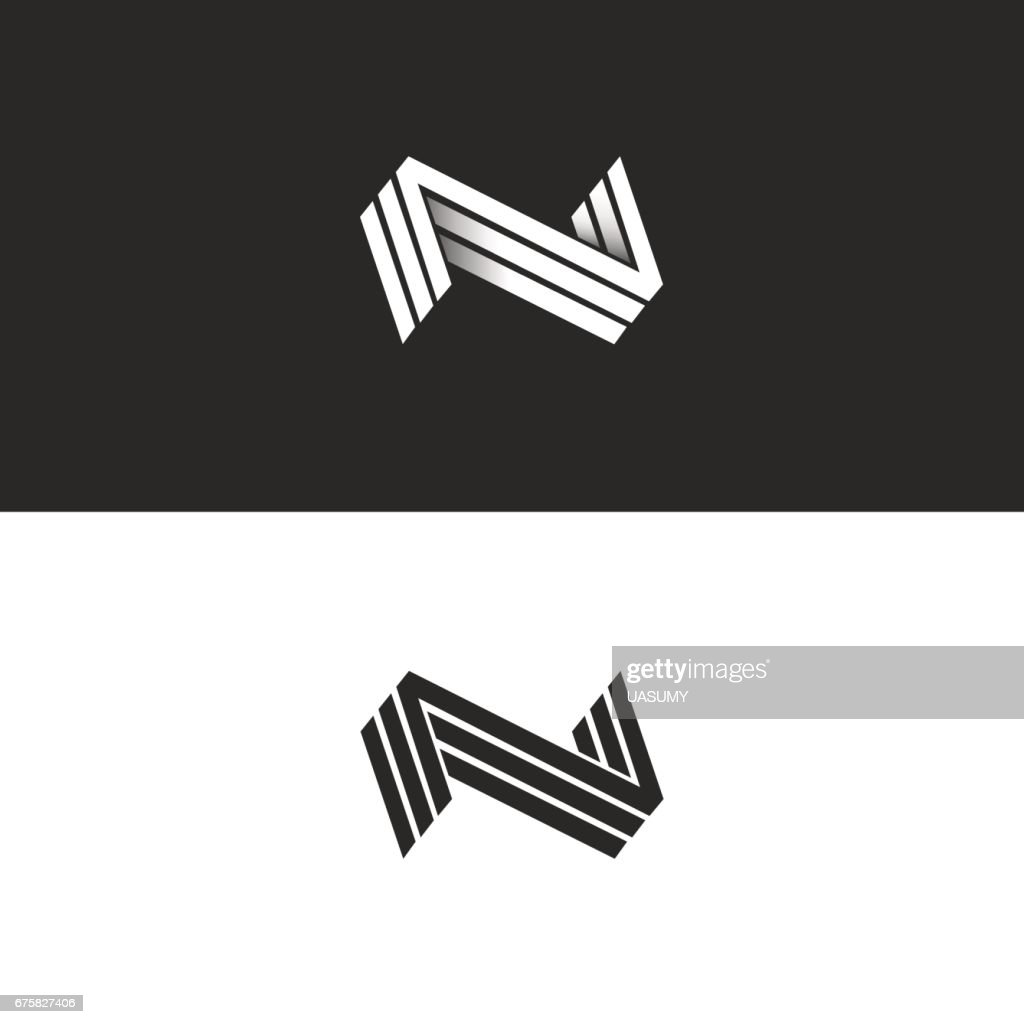 Letter N icon three NNN mark, isometric lines geometric shape black and white hipster emblem, identity 3D typography design element mockup. Perspective minimal style form with shadow.