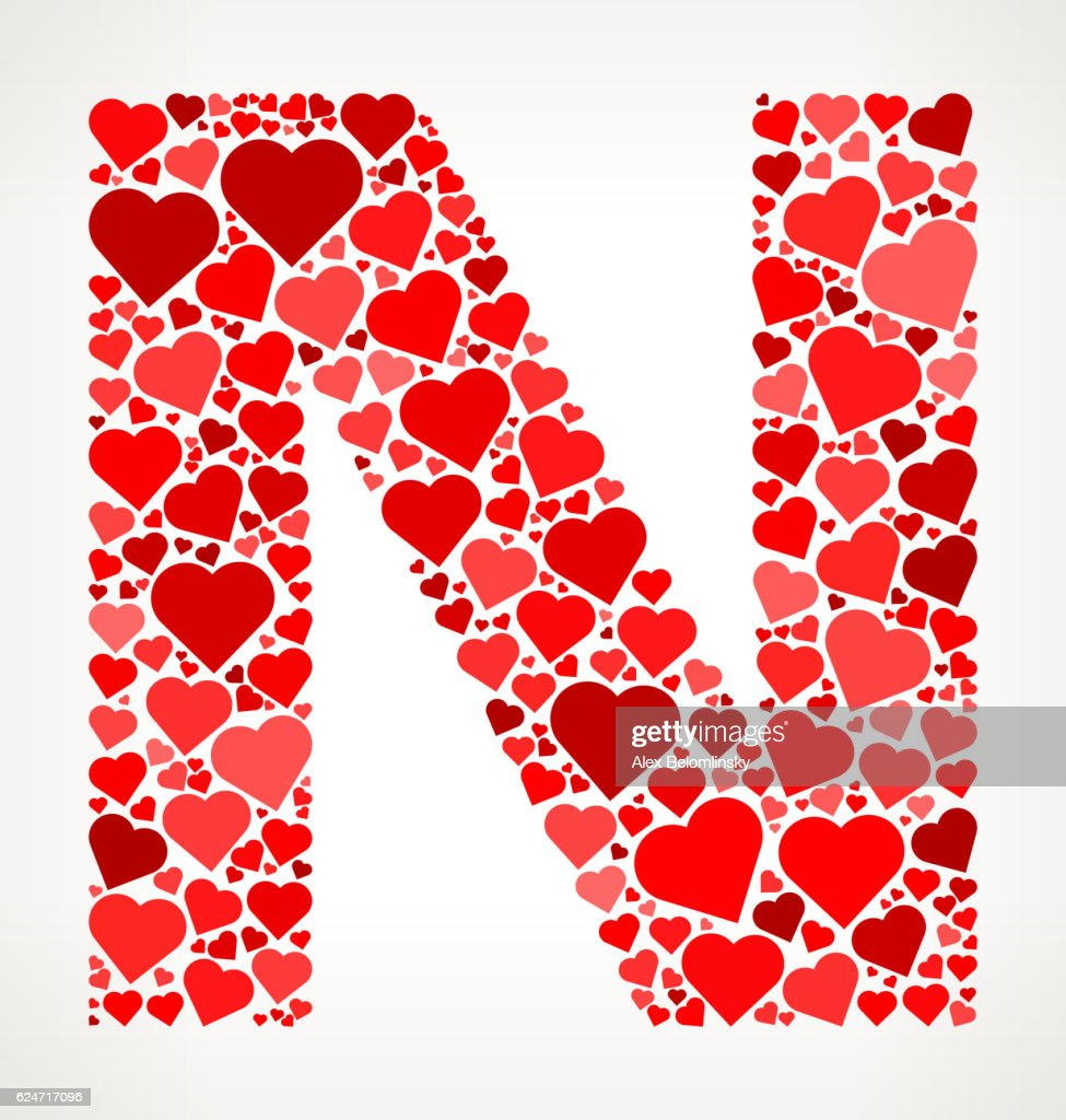 Letter N Icon With Red Hearts Love Pattern Vector Art | Getty Images