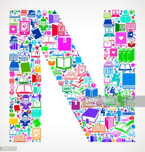 letter n reading books and education vector icons background - bookstand stock illustrations, clip art, cartoons, & icons
