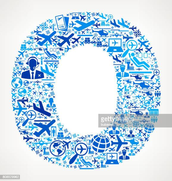 Letter O Aviation and Air Planes Vector Graphic