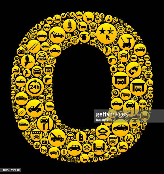 Letter O Cars and Auto Repair Icon Background
