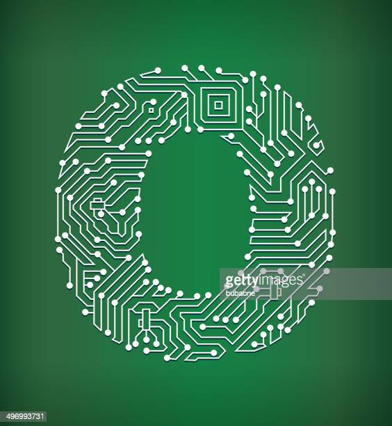 Letter O Circuit Board royalty free vector art background
