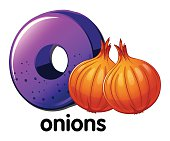 Letter O for onions