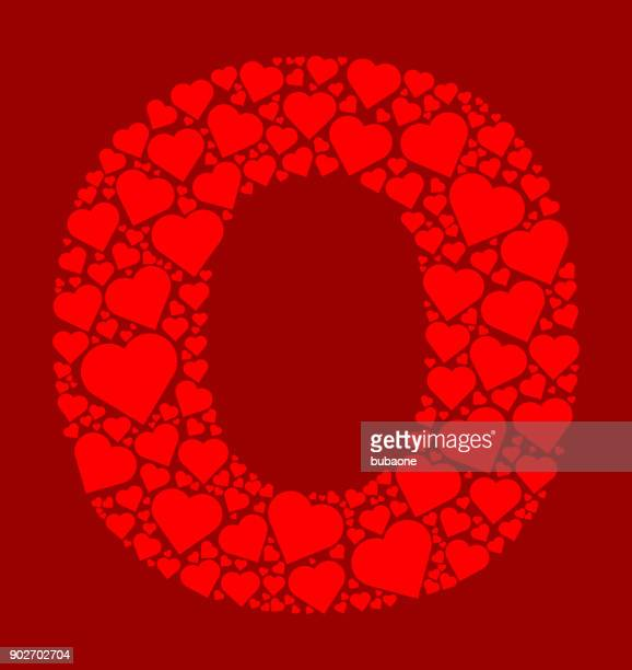 Letter O Icon with Red Hearts Love Pattern