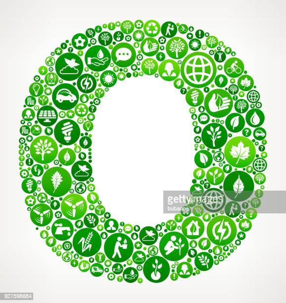 Letter O Nature and Environmental Conservation Icon Pattern