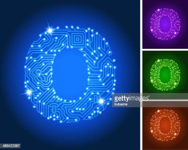 Letter O on Blue Circuit Color Set