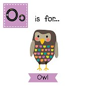 Letter O tracing. Standing colorful Owl bird.