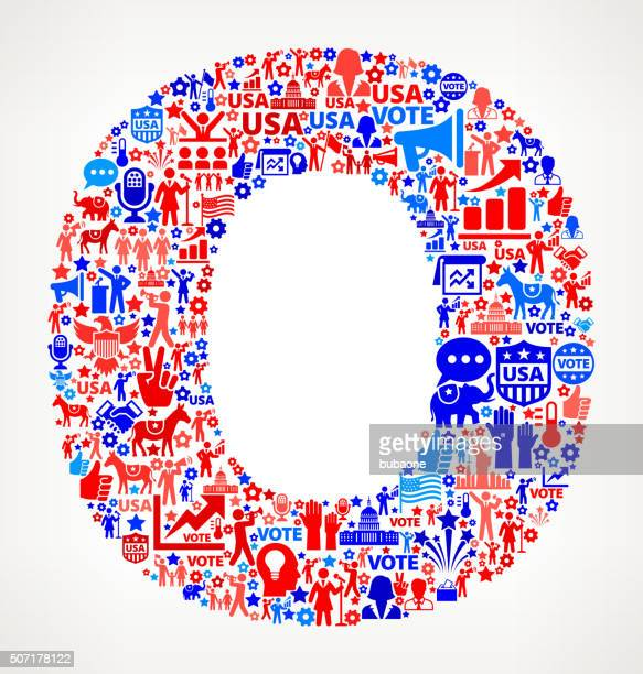 Letter o Vote and Elections USA Patriotic Icon Pattern