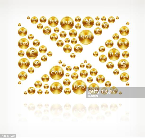 stockillustraties, clipart, cartoons en iconen met letter on gold coin buttons - e mail