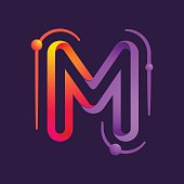 M letter one line with atoms orbits colorful icon
