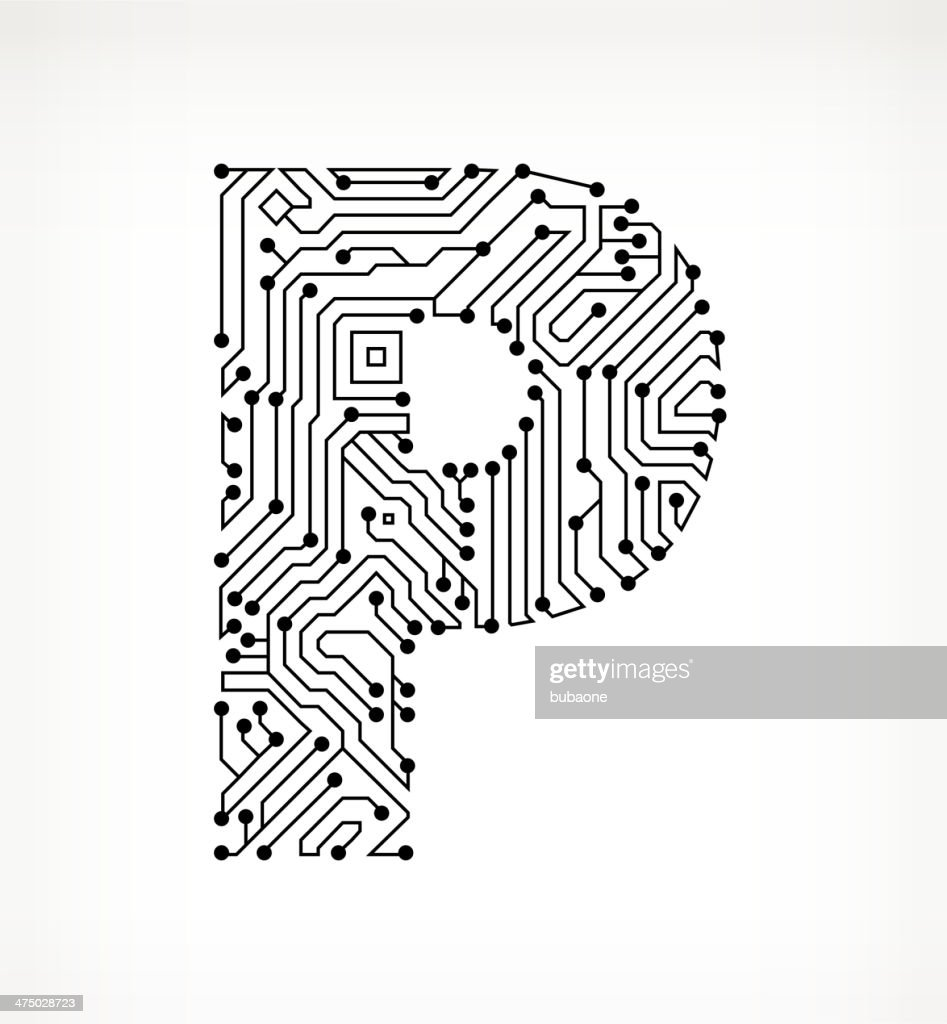 letter p circuit board on white background vector art