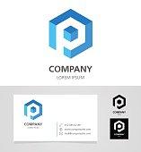 Letter P - Emblem Design Element with Business Card - illustration