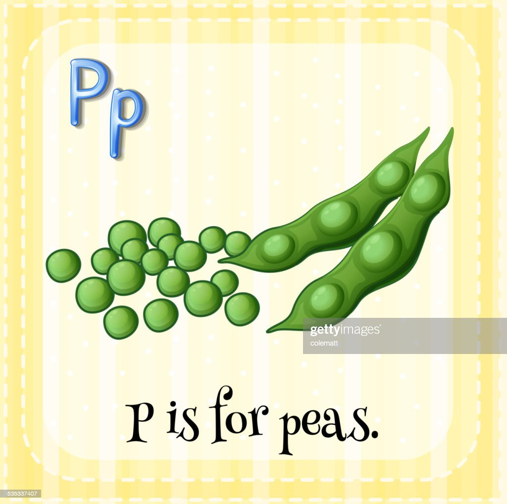 Letter P for peas