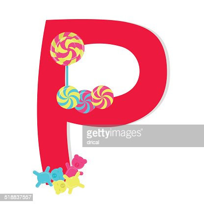 words that start with the letter a letter p from stylized alphabet with candies vector art 1735