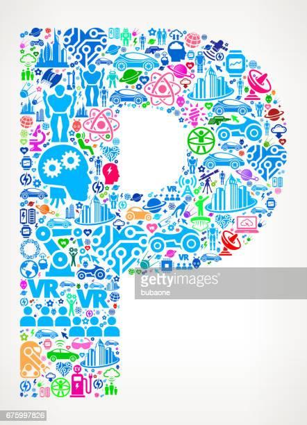 Letter P Future and Futuristic Technology Vector Icon Background