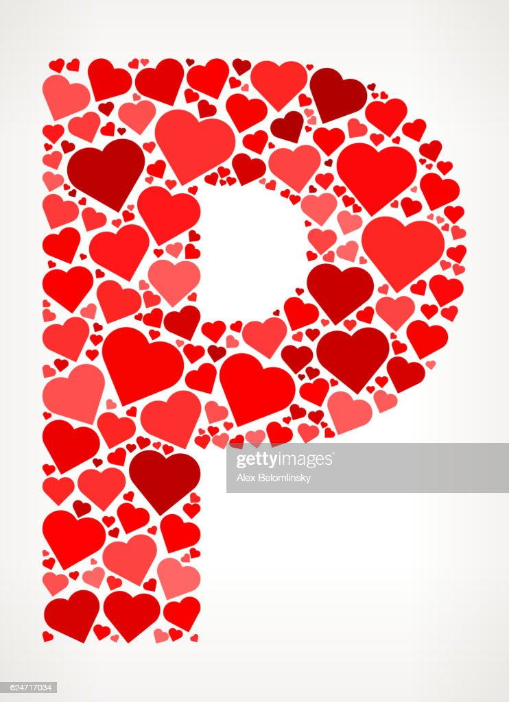 Letter P Icon With Red Hearts Love Pattern Vector Art