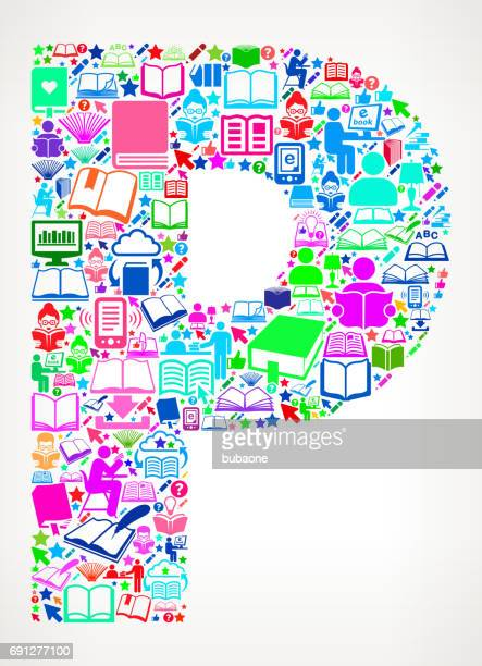 Letter P Reading Books and Education Vector Icons Background