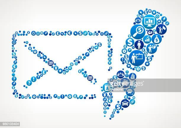 stockillustraties, clipart, cartoons en iconen met brief & pen business and finance blauwe pictogram patroon - e mail